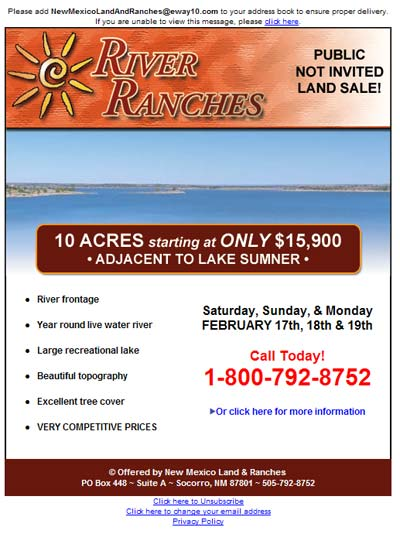 River Ranches Email Newsletter
