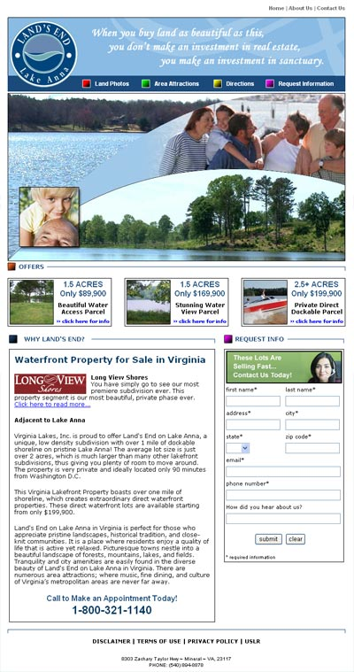 Land's End on Lake Anna Home Page