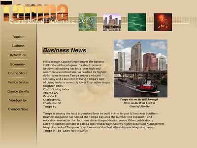 Tampa Chamber of Commerce Sub Page